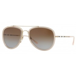 Burberry BE 3090Q 1246T5 Gold/Pink Polarized