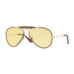 Ray-Ban RB 3422Q 90424A Light Brown Leather